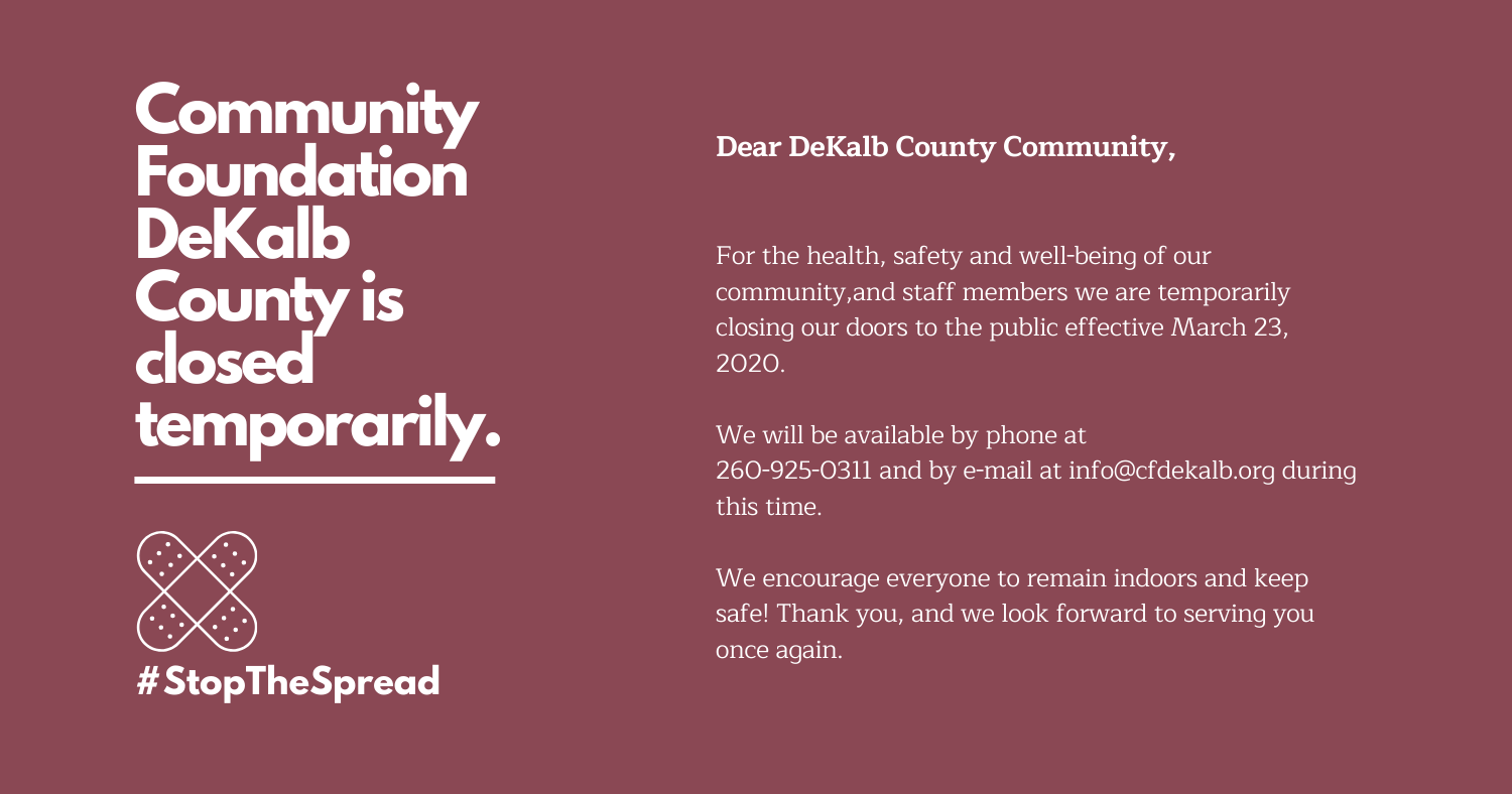 Community Foundation DeKalb County is closed temporarily. (4)